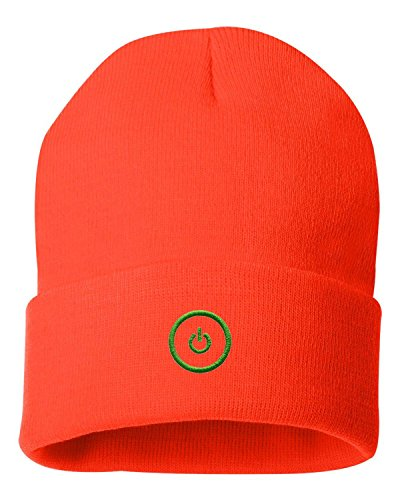 One Size Blaze Orange Adult Gaming Button Embroidered Cuffed Knit Beanie Cap (Embroidered Orange Creeper)