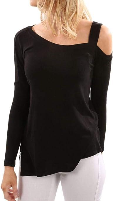 DEELIN Personalidad De La Moda De Las Mujeres Casual Color SóLido De Manga Larga Off Shoulder Tops Camisa Camiseta Larga Camiseta Negro