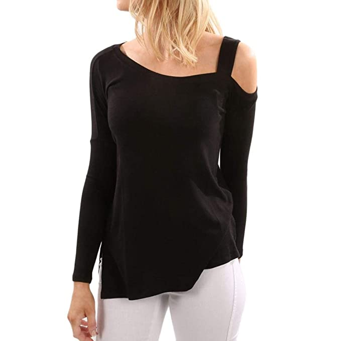 DEELIN Personalidad De La Moda De Las Mujeres Casual Color SóLido De Manga Larga Off Shoulder Tops Camisa Camiseta Larga Camiseta Negro: Amazon.es: Ropa y ...