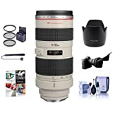 Canon EF 70-200mm f/2.8L USM AF Lens Kit, USA - Bundle with 77mm Photo Essentials Filter Kit, Flex Lens Shade, Lens Cap Leash, Lens Cleaning Kit, Lens Hood ET-83 II, Pro Software Package
