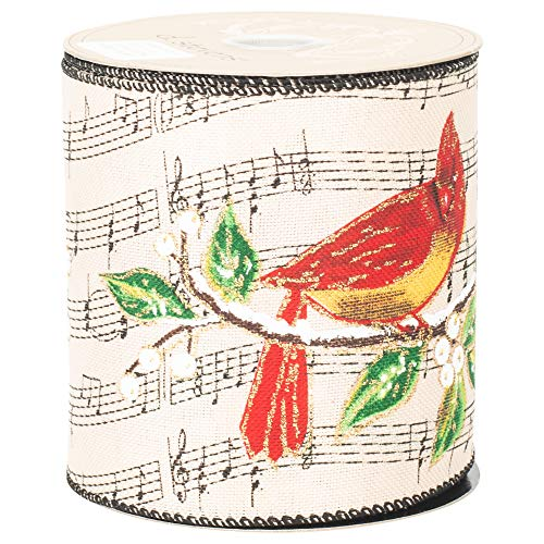 Music Note Cardinals Ivory and Red 10 Yards Linen Fabric Christmas Ribbon