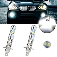 CCIYU 2 Pack Super White 6000k H1 50W 6000LM CREE Car LED Xenon Fog HID DRL Light