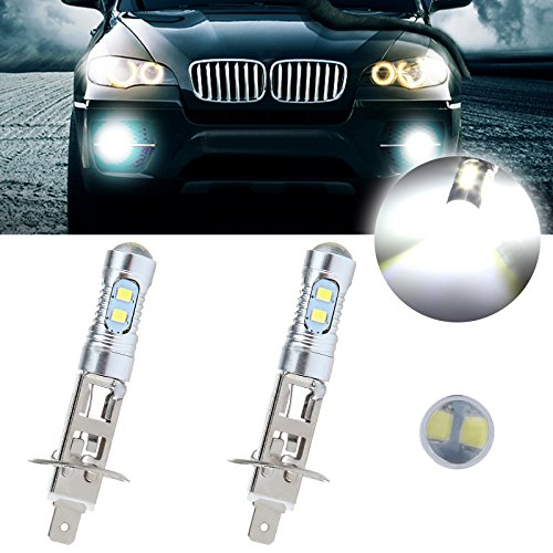 cciyu 2 Pack Super White 6000k H1 LED Bulb 50W 6000LM CREE Car LED Replacement fit for Fog HID DRL Light by CCIYU