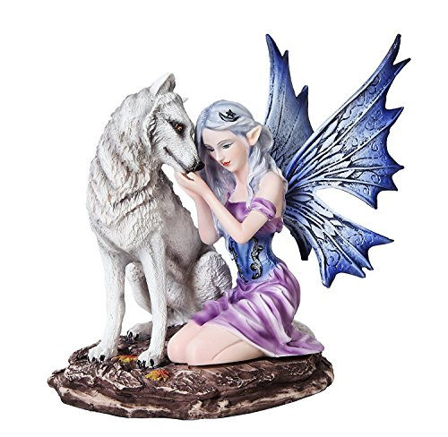 6.75 Inch Blue Winged Fairy with White Wolf Resin Statue -