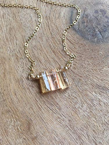 Dainty Raw Topaz Necklace on 14K Gold Filled or Sterling Silver - November Birthstone Jewelry