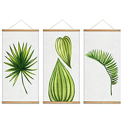 Dazzling Picture, Hanging Poster with Wood Frames Beautiful Green Plants Home Wall x3 Panels, Premium Creation