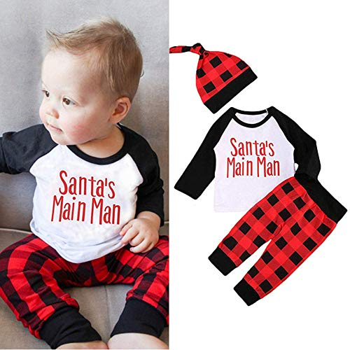 3PCS Newborn Baby Boys Girl Christmas Outfits Set Long Sleeve Santa Letter Print Tops Plaid Pants With Hat Clothes Sets(12-18M) for $<!--$10.99-->