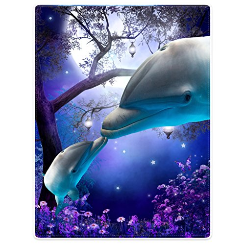 "SXCHEN Blanket Sofa Bed Throw Lightweight Cozy Plush Mysterious Forest Night Sky Funny Dolphin Kiss 60""x80"""