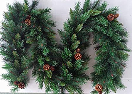Best Artificial 9ft 2 7m Christmas Garland With 16 Pine Cones Indoor Xmas 215 Tips Amazon Co Uk Kitchen Home