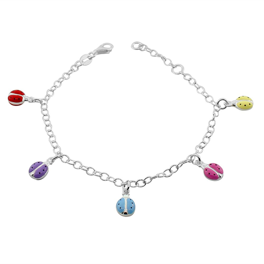 925 Sterling Silver Multicolor Enamel Ladybug Womens Girls Link Chain Bracelet