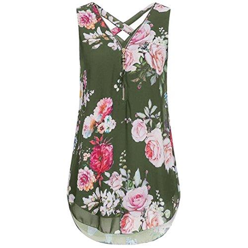 - Chiffon Blouse-Han Shi Women Flowers Print V-Neck Zipper T Shirts Tops (Army Green, XL)
