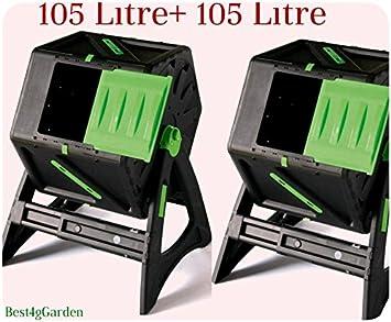 Dual 105 L (2 compostadores 105L cada) abatible – acelera proceso – sin esfuerzo