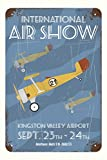 Retro Air Show Poster with Biplane Bi Wing Airplane Art Print Poster 12x18