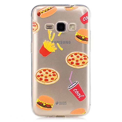 Samsung Galaxy J1 (2016) SM-J120F Case, KSHOP Premium Accessory Ultra Thin Transparent Clear Soft Gel TPU Silicone Case Cover Bumper Shellfor Samsung Galaxy J1 (2016) SM-J120F-Hamburger and French fries