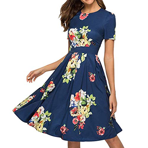 (Women Elegent A-line Vintage Printing Party Dress Ladies O-Neck Half Sleeve Pleat Dresses)