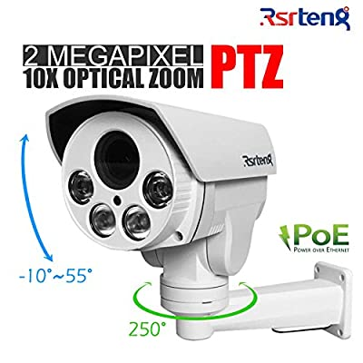 Rsrteng 2.0MP 10x Optical Zoom POE PTZ IP Security Cameras H.265 H.264 IR Day/Night IP66 Outdoor Indoor 5.1-51mm HD 1920x1080 P2P 1080P Bullet Camera TF Card Slot Pan/Tilt Onvif Bracket RST-HA210-E by Rsrteng