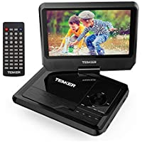 TENKER Portable DVD Player with 9.5 Swivel Screen, Built-in Rechargeable Battery and SD Card Slot & USB Port [Upgraded Version]