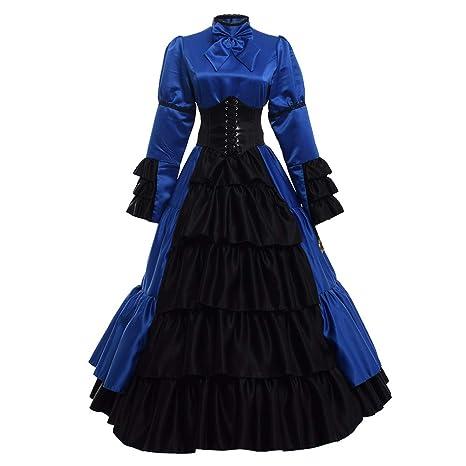 GRACEART Victoriano Gótico Disfraz de Reina Medieval Vestido de Fiesta Vestido de cóctel Vintage Vestido de Fiesta (S, Azul)