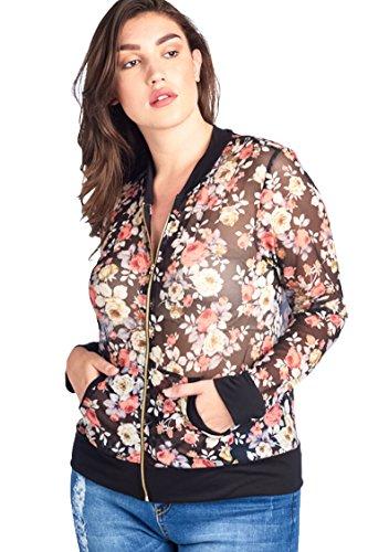 Bubble B Women's Plus Size Floral Print Mesh Jacket Black Multi (Mesh Blazer)