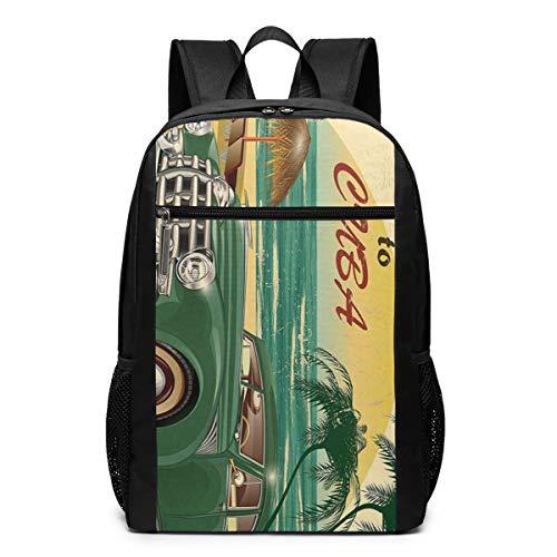 1950 Backpack - KHVBGIE Beach Tapestry Ocean 1950s Fashion Student School Outdoor Backpack 17in Teens Bookbags Schoolbags Travel Laptop College Business Daypack for Men & Women,Black Backpack
