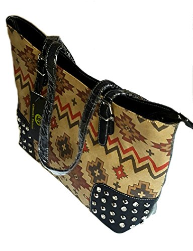 Cowgirl Trendy Durable Faux Suede Studded Western Tribal Print Shopper Shoulder Bag