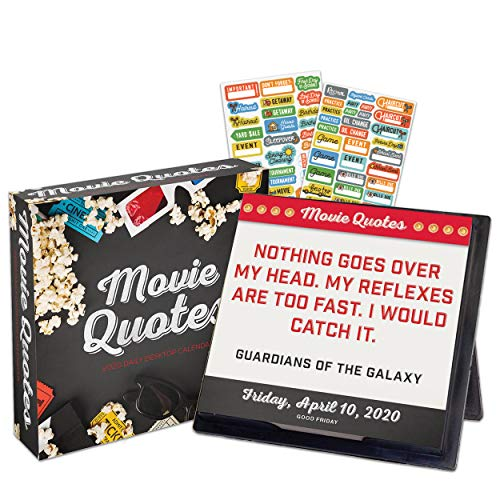 Movie Quotes 2020 Calendar Box Edition Bundle - Deluxe 2020 Movie Quotes 365 Daily Pages Box Calendar with Over 100 Calendar Stickers