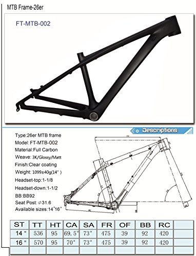Fasteam 26er 16 '' 3K Matte Full Carbon Bicycle Frame MTB Frame with Bottom Bracket and Headset by Fasteam (Image #1)