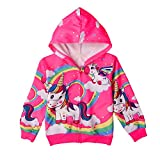 Eichzhushp Unicorn Clothes for Girls, Long Sleeve Zip Up Hoodie Jacket Sweatshirt with Pockets (Rose, 4T/ 4-5Y /Height: 43')