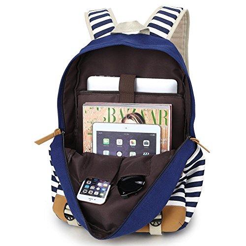 Backpack Mochilas Escolares,Mujer Mochila Escolar Lona Grande Bolsa Estilo Étnico Vendimia Casual Colegio Bolso Para Chicas azul