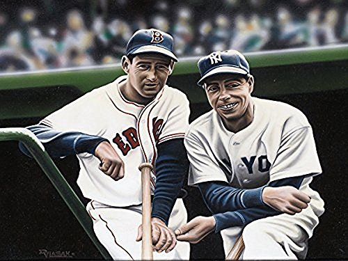 Buyartforless Canvas Ted Williams and Joe DiMaggio by Darryl Vlasak 16x12 Painting Print on Wrapped Canvas Memorabilia Baseball Legends Boston Red Sox New York Yankees. Made in The - Painting Joe Dimaggio