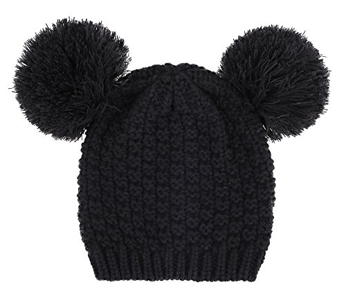 ThunderCloud Women Cable Knit Pompom Mickey Ears Warm Winter Beanie Hat,Black