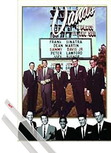 1art1 Poster + Hanger: The Rat Pack Poster (35x23 inches) Collage and 1 Set of Transparent Poster Hangers