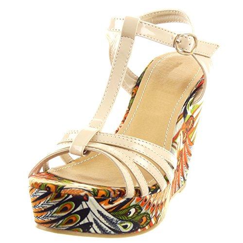 Sopily - damen Mode Schuhe Pumpe T-Spange Plateauschuhe Blumen Multi-Zaum - Beige
