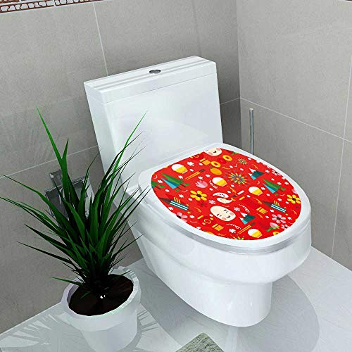 Home Decoration Vector Flat Texture Chinese New Year Toilet Cover Stickers W13 x L18 -