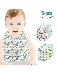 Mifiatin Baby Waterproof Bib,Toddler Drooling Feeding Bibs 6 Pcs(0-3years)