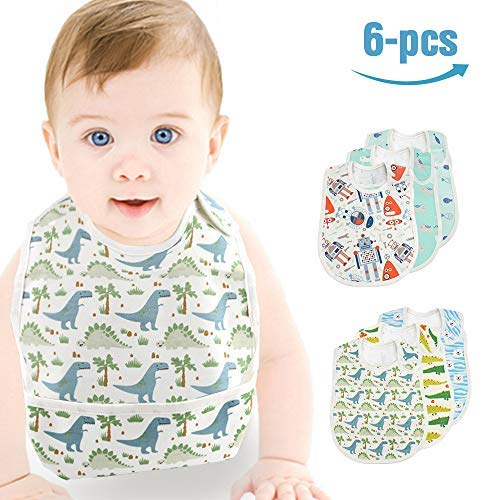 Baby Waterproof Bib, Mifiatin Boy Toddler Drooling Feeding Bibs 6 Pcs(0-3year)