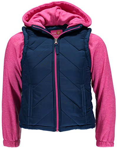 - Pink Platinum Girls' Little Chevron Quilted Vest 2 in 1, Navy 6X