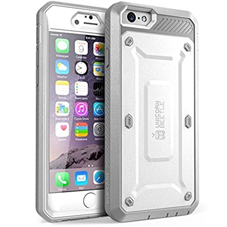 I Phone 6 S Case, Supcase Apple I Phone 6 Case / 6 S 4.7 Inch Display [Unicorn Beetle Pro] Rugged Holster Cover With Builtin Screen Protector (White/Gray) by Supcase