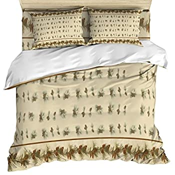 Image of Anzona 4 Piece Bedding Set Include 1 Comforter/Quilt Cover California King, Pine Needles and Pine Cone Bedspread Daybed with Zipper Closure with 2 Pillow Sham Cases Home and Kitchen