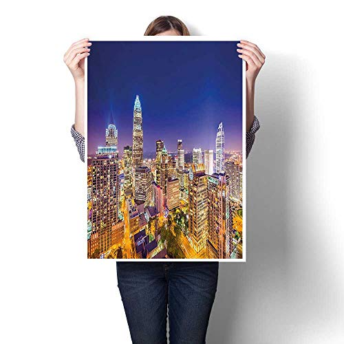 - 1 Piece Canvas Wall Art -,Panoramic North Carolina Uptown Sky at Night Cityscape Luminous Town Picture Indigo Orange Canvas,Abstract Art Painting - Modern Home Decor,20