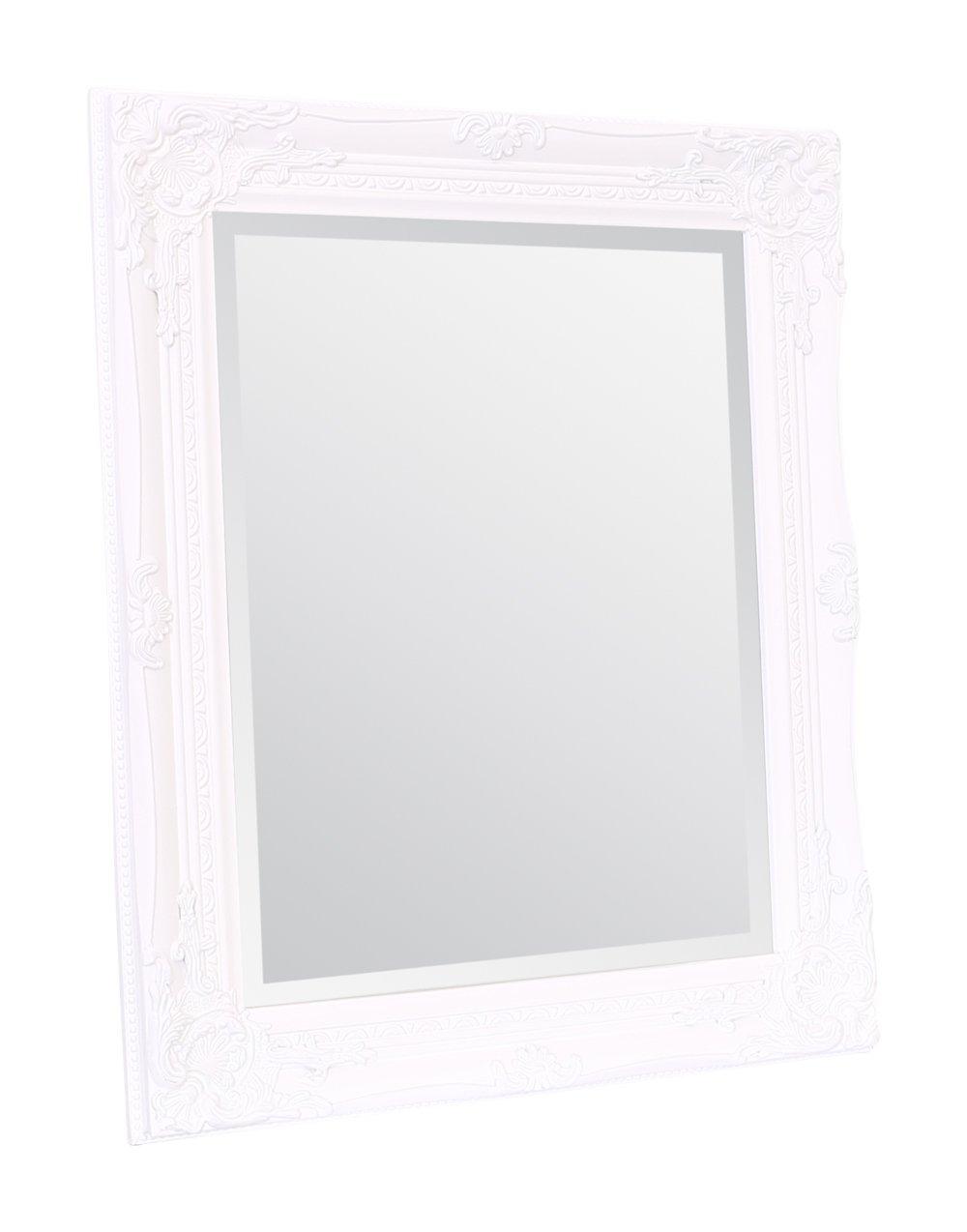 Legno massello 50 cm x 60 cm Finitura a mano Vintage francese Nero opaco Specchio da parete Rhone Specchi Select Stile barocco rococ/ò Decorazione elegante e chic per la casa