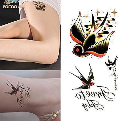 Oottati Tatuajes Temporales Inglés Brazo Swallow (Juego De 2 ...