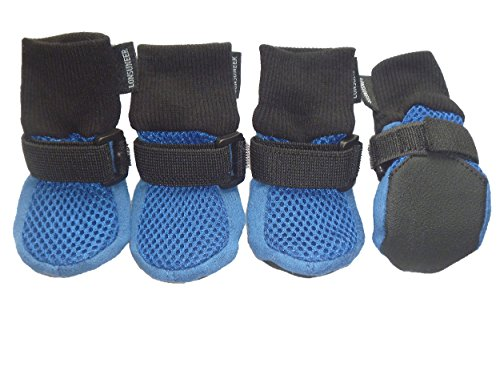 LONSUNEER Dog Boots Breathable and Protect Paws with Soft Nonslip Soles Blue Color Size XS - Inner Sole Width 1.97 Inch Dog Puppy Booties
