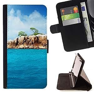 KingStore / Leather Etui en cuir / Samsung Galaxy S4 Mini i9190 / Paradise Rocks