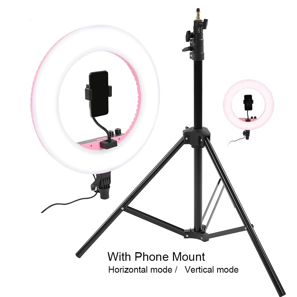 432 LED 3200-5600K Warm//White for Studio Makeup Live Vlogger LED Ring Light with Stand Camera Phone Holder /& Carrying Case Black Digital Display Dimmable Video Light