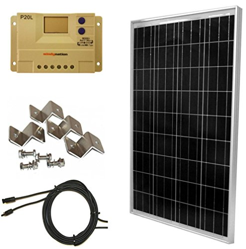 WINDYNATION-Complete-Solar-100-Watt-Panel-Kit-100W-Solar-Panel-20A-LCD-Display-PWM-Charge-Controller-MC4-Connectors-Mounting-Z-Brackets-for-12V-Battery-off-grid-RV-Boat