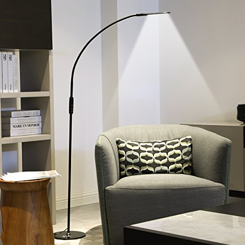 - IMIGY Dimmable 9W Floor Lamp, Office/Work/Living Room Reading Flexible Gooseneck Light with Touch and Remote Control, 5-Level Brightness and Color Temperature Dimmable Eye-Care Technology Light, Black