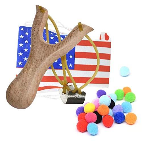 TOPRADE Solid Wooden Hunting Slingshot with National Flag Pattern Bag & Cotton Ammo for Catapult Hunting Game for Kids Children Adults (Flag Bag Set Wood)