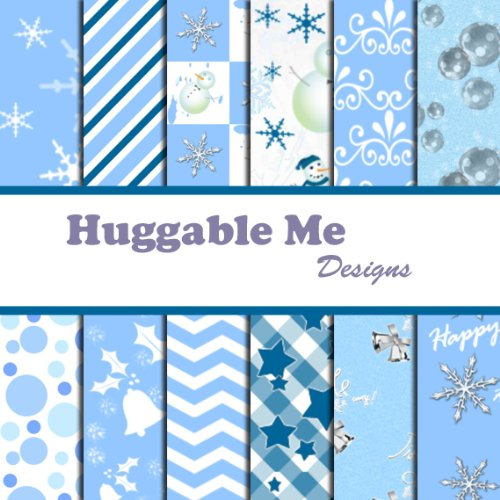 Christmas Scrapbook Paper Printable - Blue & White Christmas Scrapbook Paper - Digital Format on CD