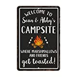 This is a fantastic gift for anyone who likes to camp. The sign says: Welcome to Campsite Where Marshmallows and Friends Get Toasted. The image is a fire with marshmallows on sticks. The background is mainly black with white border and text and a vin...